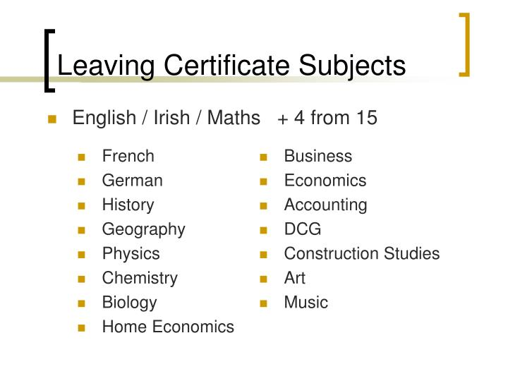 Leaving Certificate Subjects