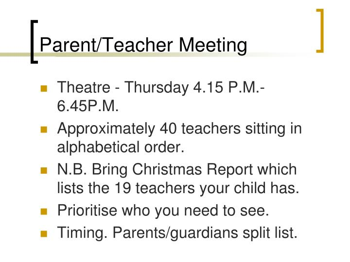 Parent/Teacher Meeting