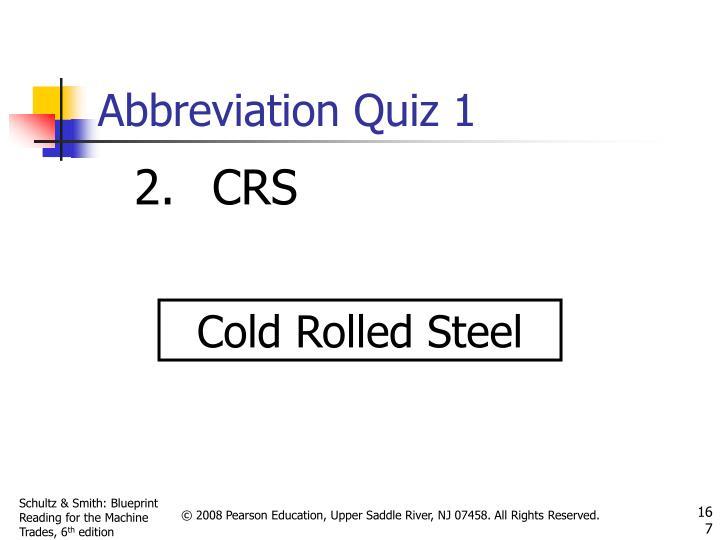 Abbreviation Quiz 1