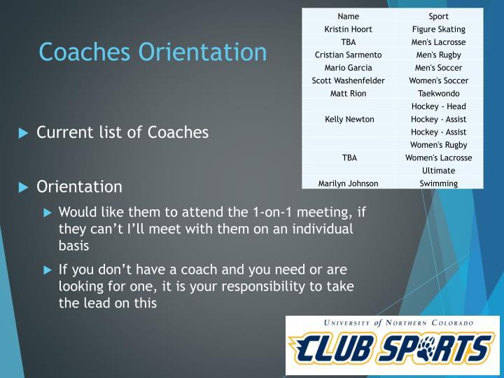Coaches Orientation