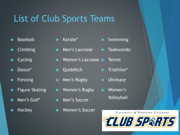 List of Club Sports Teams