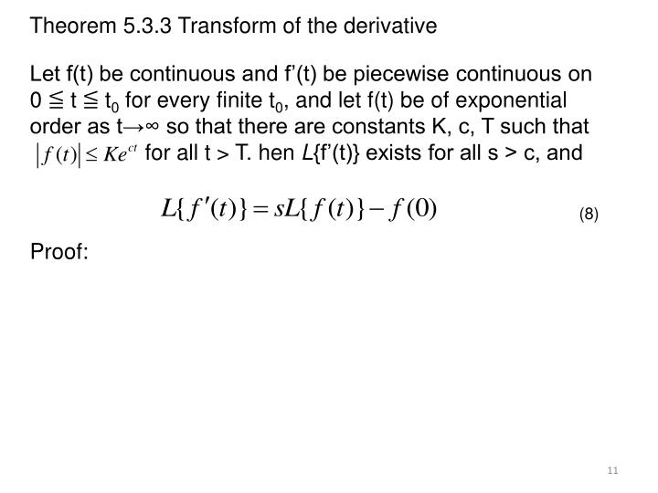 Theorem 5.3.3 Transform of the derivative