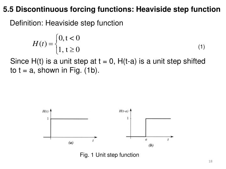 5.5 Discontinuous forcing functions: Heaviside step function