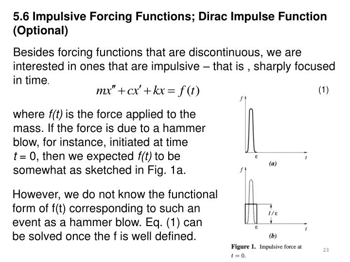 5.6 Impulsive Forcing Functions; Dirac Impulse Function (Optional)