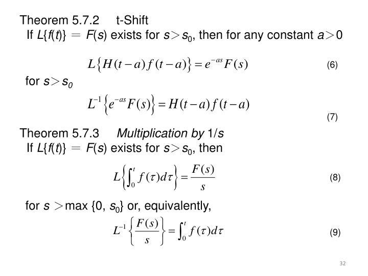 Theorem 5.7.2     t-Shift