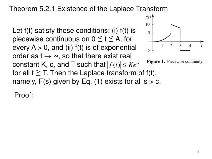 Theorem 5.2.1 Existence of the Laplace Transform
