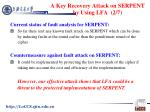 a key recovery attack on serpent by using lfa 2 7
