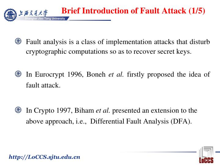 Brief introduction of fault attack 1 5