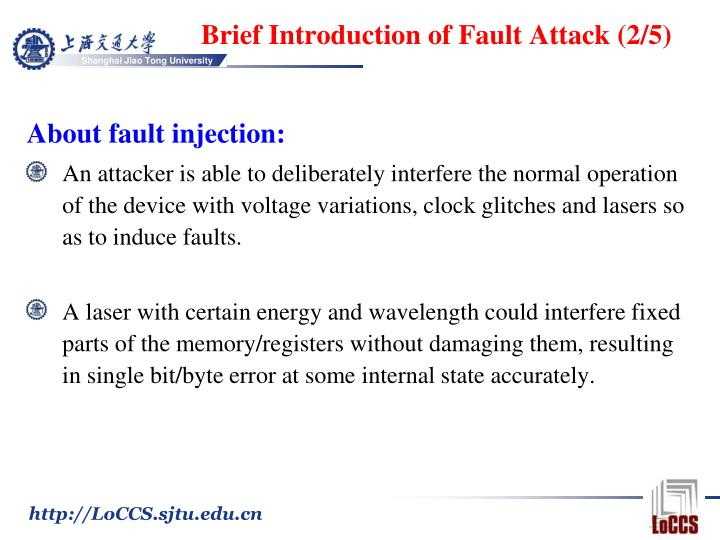 Brief Introduction of Fault Attack (2/5)