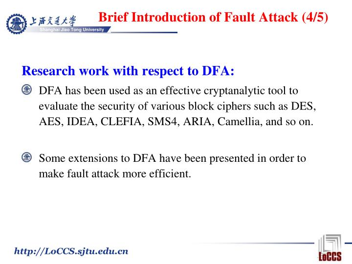 Brief Introduction of Fault Attack (4/5)