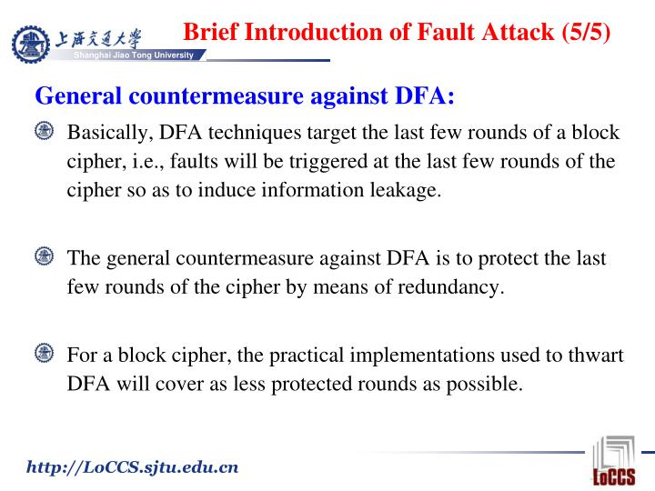 Brief Introduction of Fault Attack (5/5)
