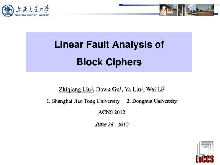 Linear fault analysis of block ciphers