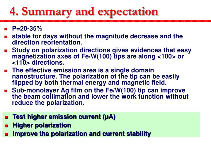 4. Summary and expectation