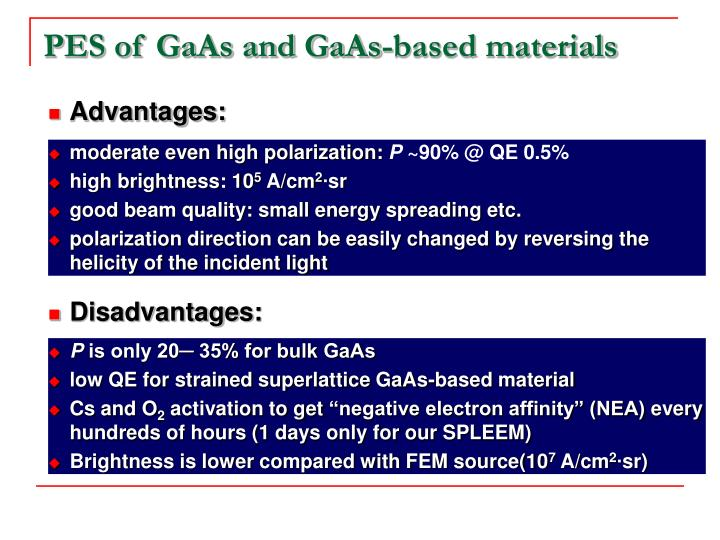PES of GaAs and GaAs-based materials