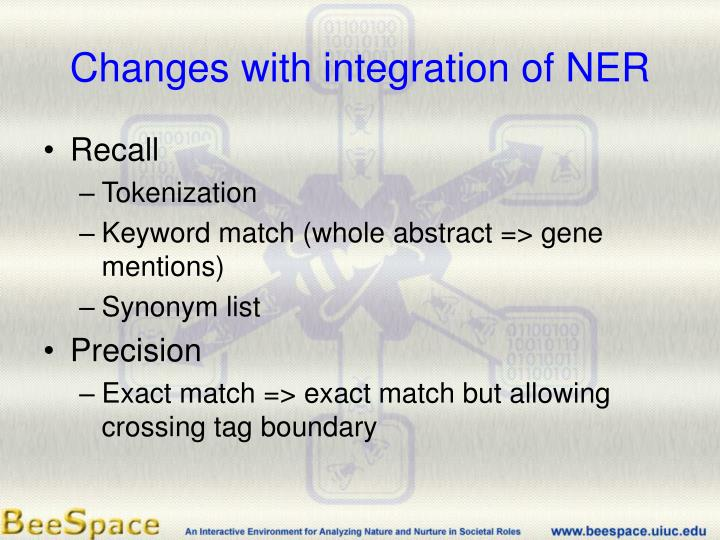 Changes with integration of NER
