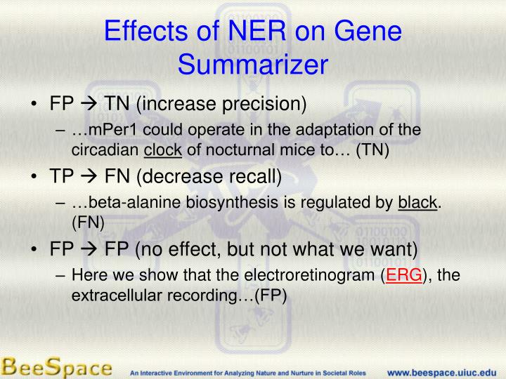 Effects of NER on Gene Summarizer