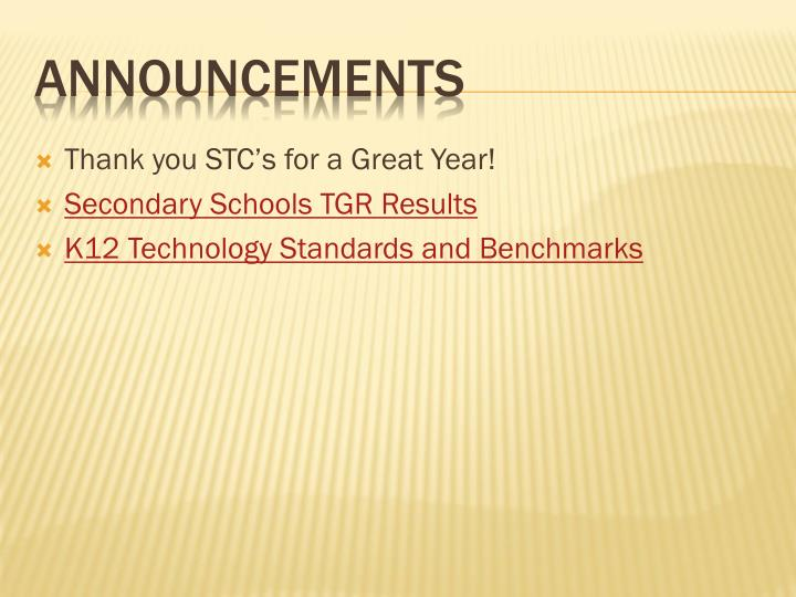 Thank you STC's for a Great Year!
