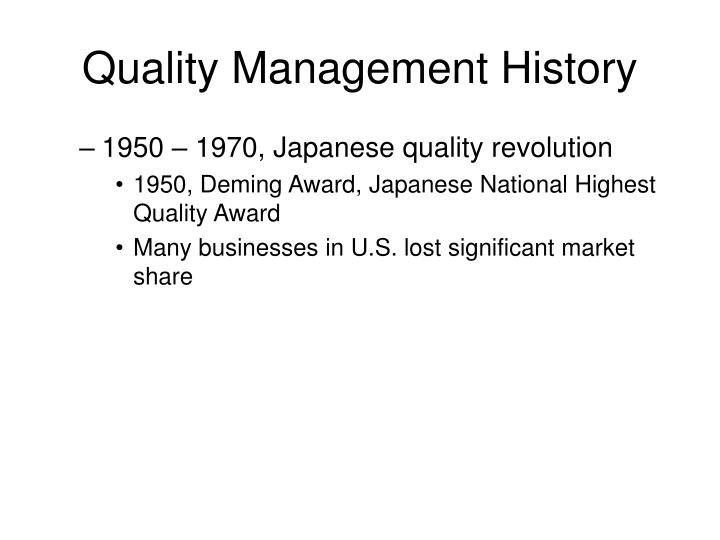Quality Management History