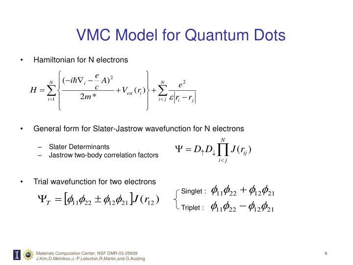 VMC Model for Quantum Dots
