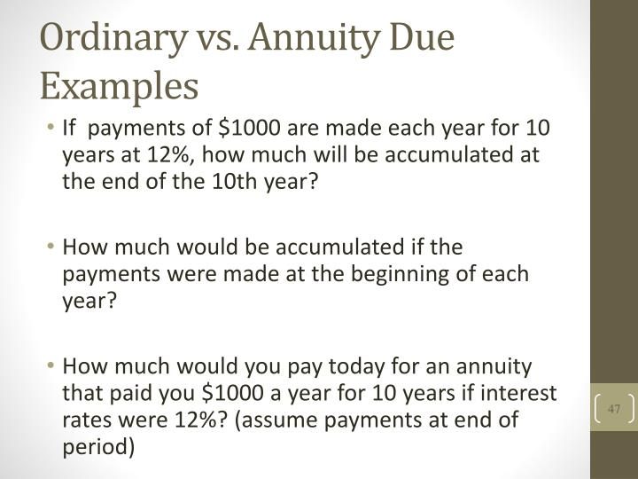 Ordinary vs. Annuity Due