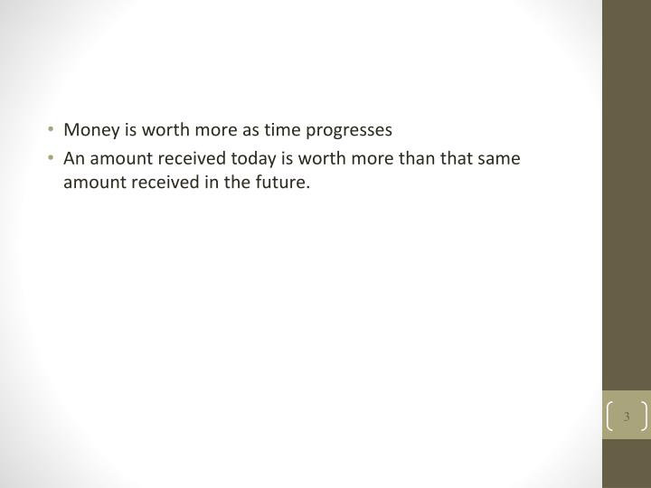 Money is worth more as time progresses