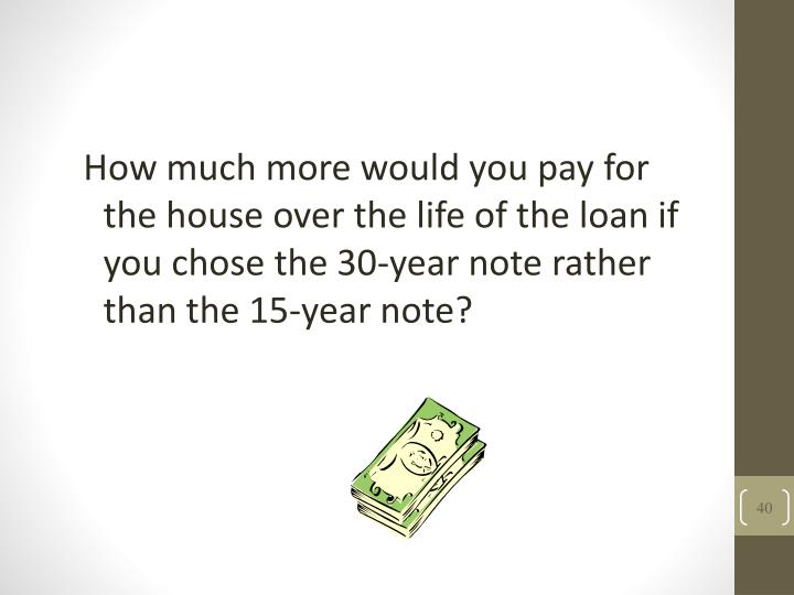 How much more would you pay for the house over the life of the loan if you chose the 30-year note rather than the 15-year note?