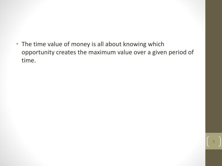 The time value of money is all about knowing which opportunity creates the maximum value over a given period of time.