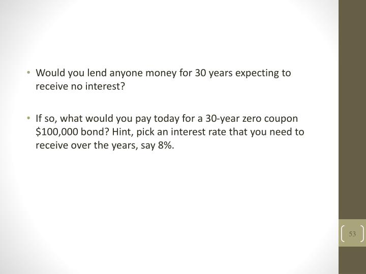 Would you lend anyone money for 30 years expecting to receive no interest?
