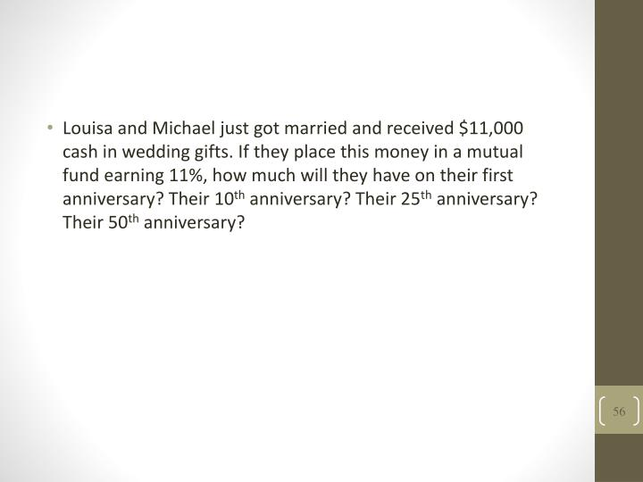 Louisa and Michael just got married and received $11,000 cash in wedding gifts. If they place this money in a mutual fund earning 11%, how much will they have on their first anniversary? Their 10