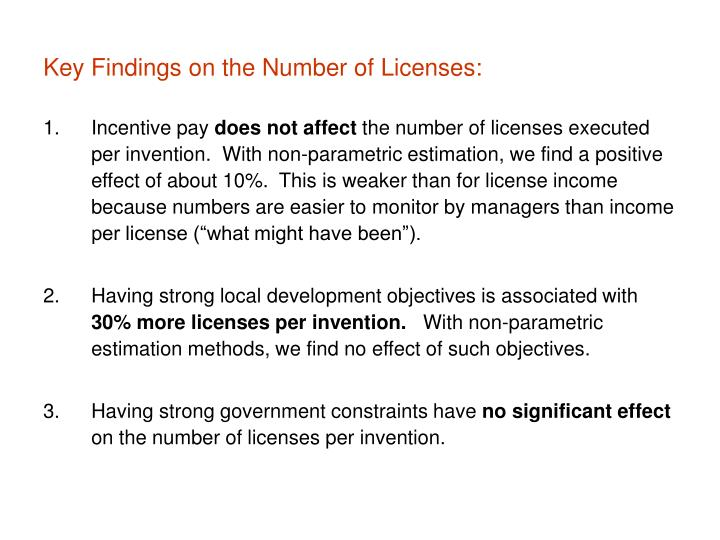 Key Findings on the Number of Licenses: