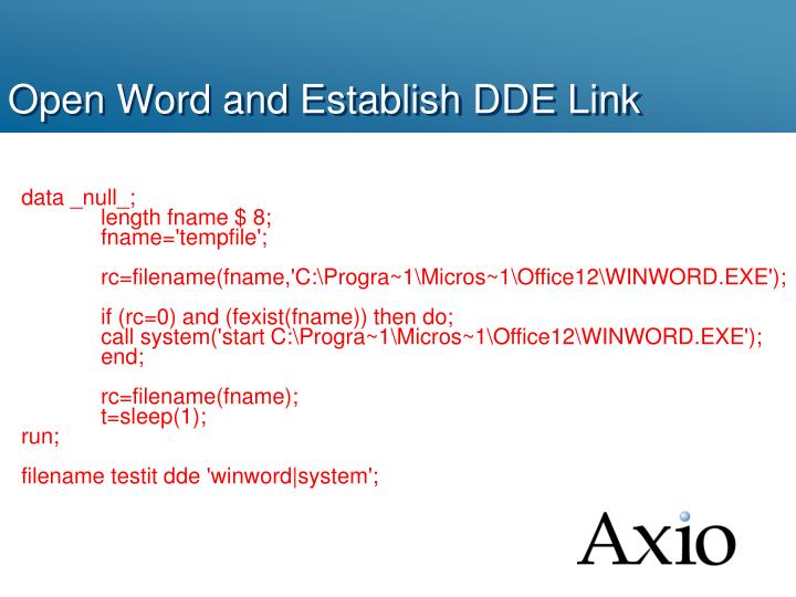 Open Word and Establish DDE Link