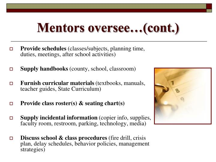 Mentors oversee…(cont.)