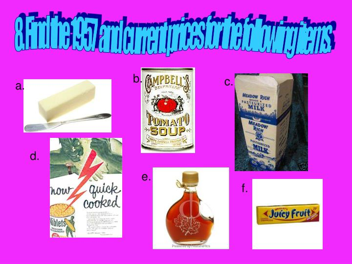 8. Find the 1957  and current prices for the following items.
