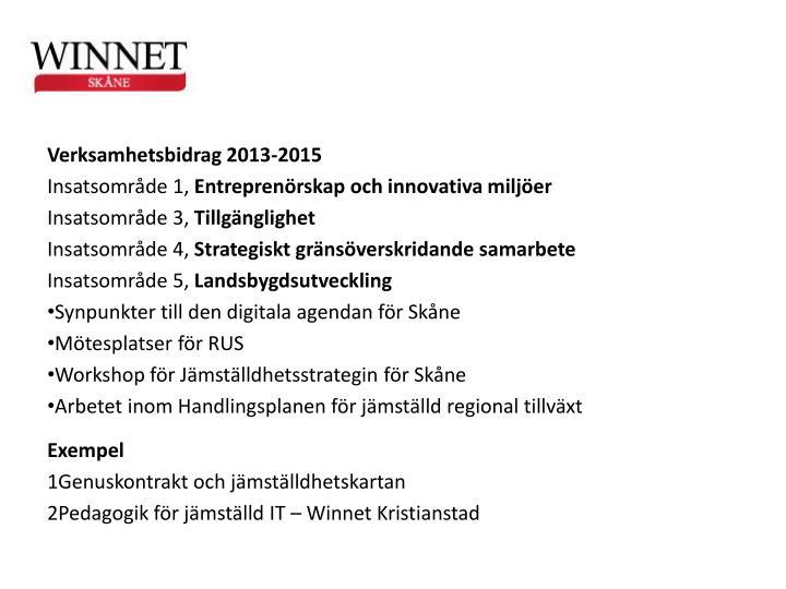 Verksamhetsbidrag 2013-2015