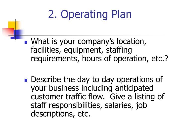 2. Operating Plan