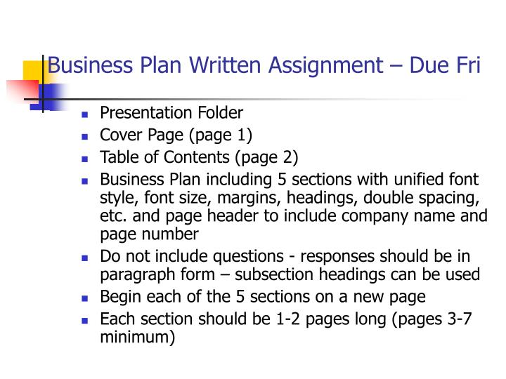 Business plan written assignment due fri
