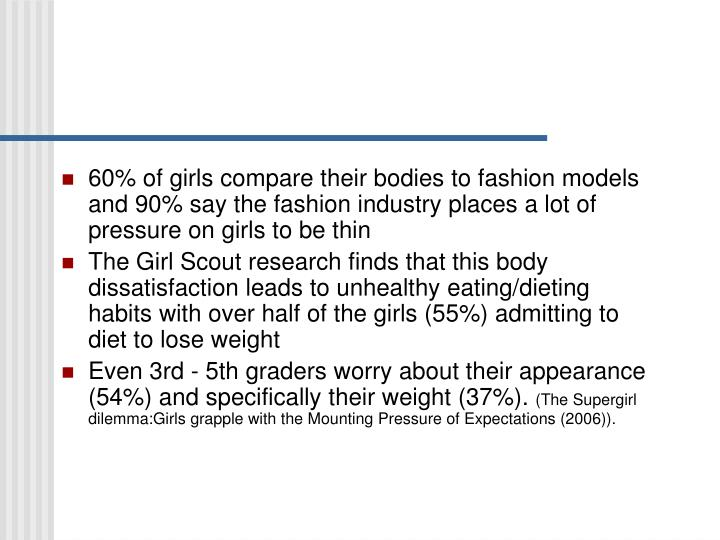 60% of girls compare their bodies to fashion models and 90% say the fashion industry places a lot of pressure on girls to be thin