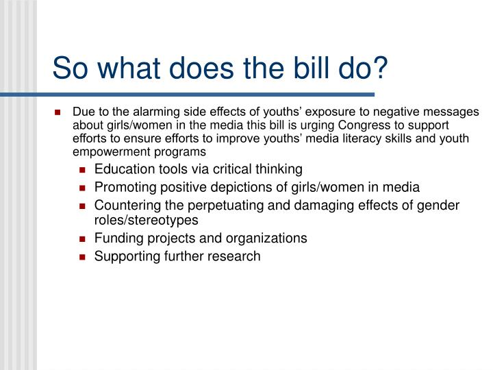 So what does the bill do?