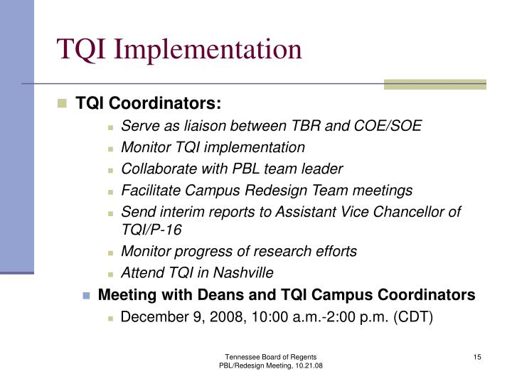 TQI Implementation