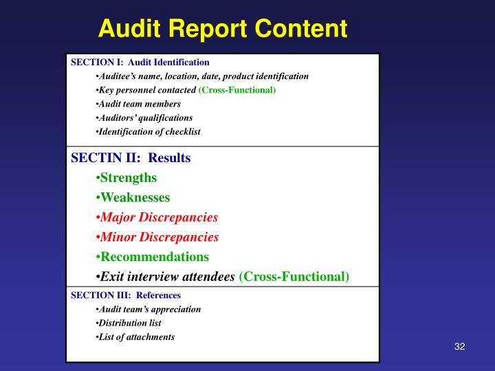 Audit Report Content