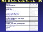 iso 9000 series quality elements 1987