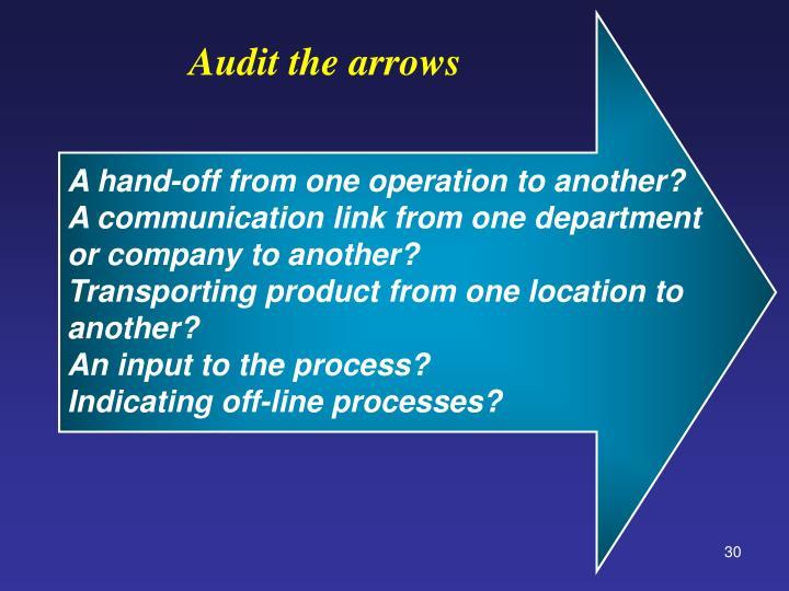 Audit the arrows