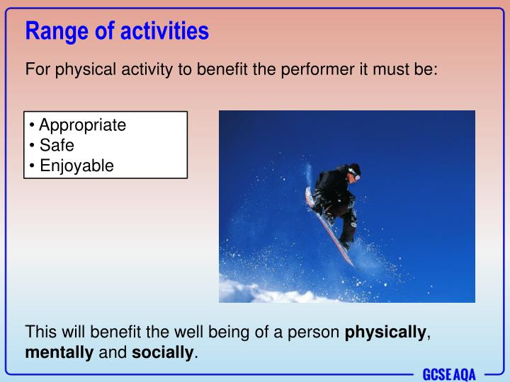 Range of activities