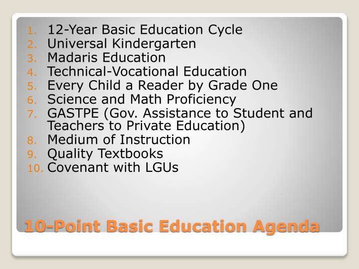 10 point basic education agenda