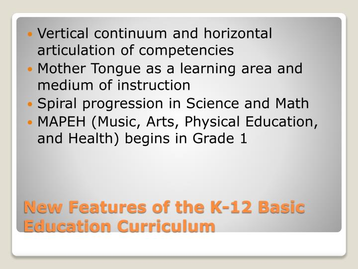 Vertical continuum and horizontal articulation of competencies