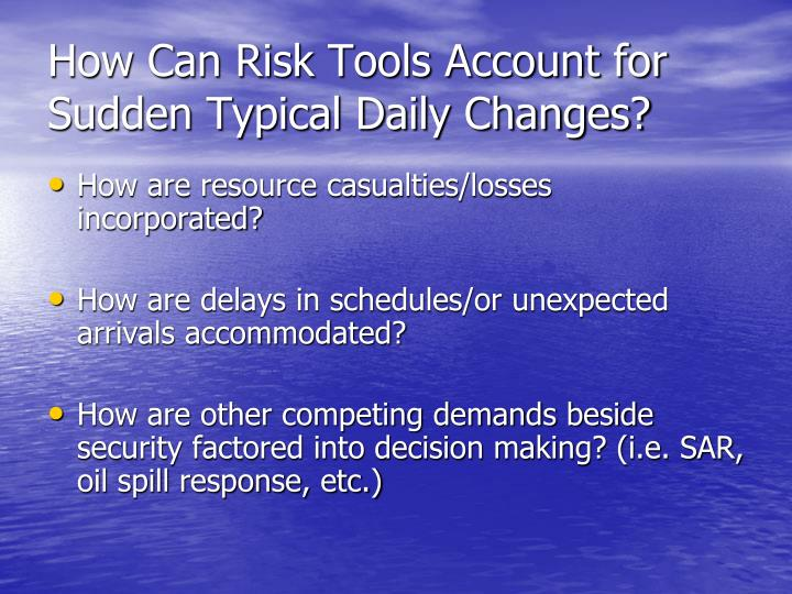 How Can Risk Tools Account for Sudden Typical Daily Changes?