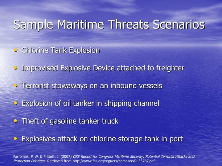 Sample Maritime Threats Scenarios