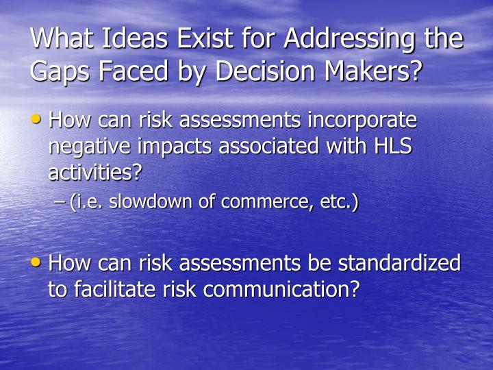What Ideas Exist for Addressing the Gaps Faced by Decision Makers?