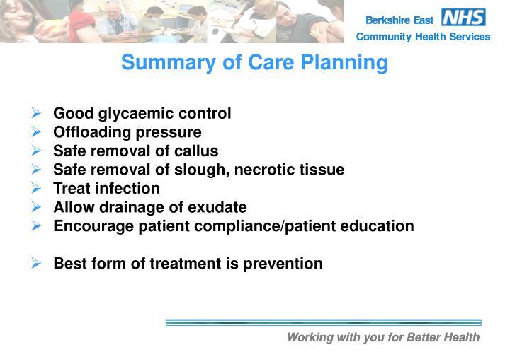 Summary of Care Planning