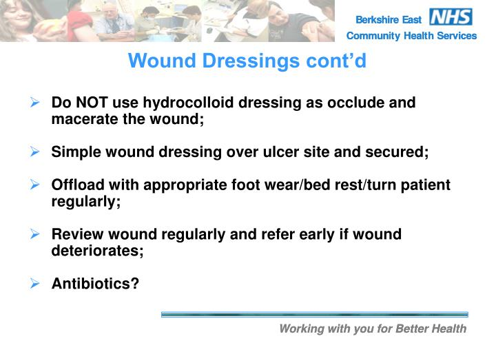 Wound Dressings cont'd